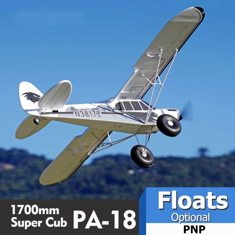 FMS RC avion 1700MM 1.7M PA-18 J3 Piper Super Cub 4S 5CH (flotteurs en option) PNP formateur débutant modèle avion avion PA18 J-3