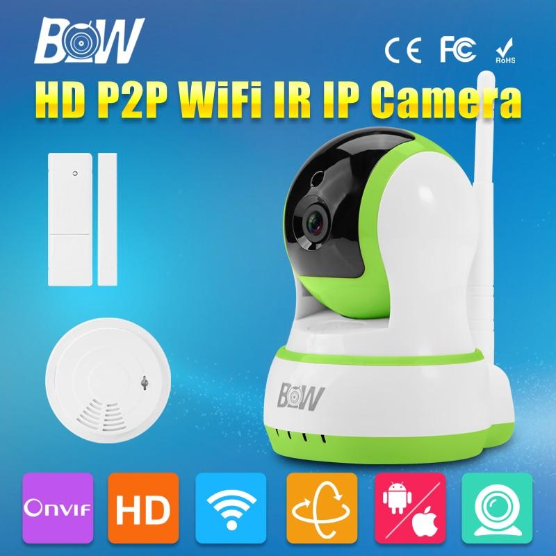 BW font b Door b font Sensor Smoke Detector IR Wireless P T Surveillance CCTV Onvif