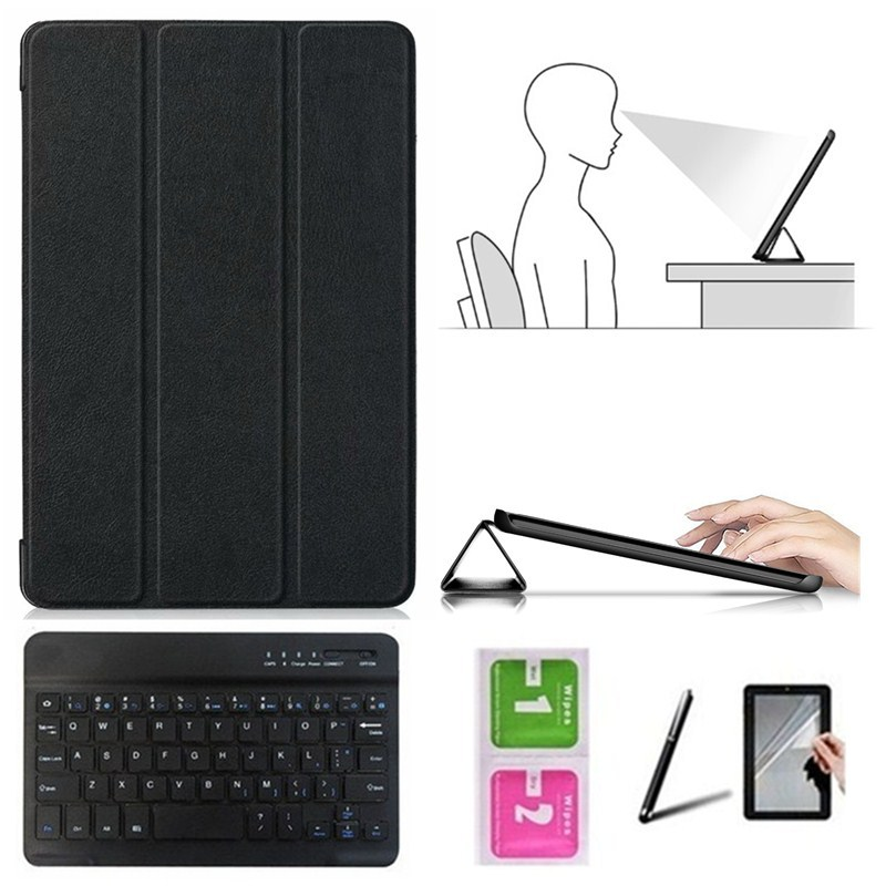 Accessory Kit For Huawei Mediapad T3 10.0 AGS-L09 AGS-L03 - Caster Cover Case+Bluetooth Keyboard+Protective Film+Stylus Pen