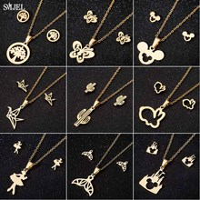 Smjel Stainless Steel Jewelry Sets Cute Animal Mickey Stud Earrings for Women Kids Tree Ballet Cactus Statement Necklaces Colli