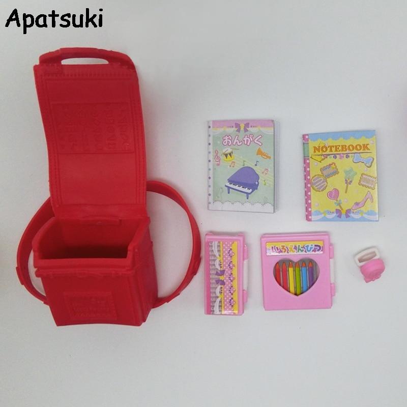 Miniature 1:6 Dolls Bag Schoolbag For Barbie Doll Knapsack Packsack For blythe Doll 1/6 Bag Doll Accessories Educational Toy