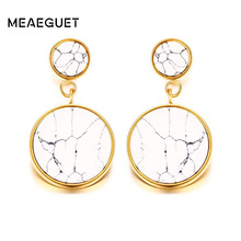 Meaeguet Exquisite Fancy Women's White Stone Drop Earrings Round Circle Stainless Steel Dangle Ear Jewelry