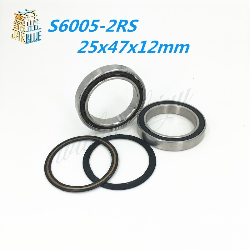 Free shipping S6005-2RS stainless steel 440C hybrid ceramic deep groove ball bearing 25x47x12mm купить