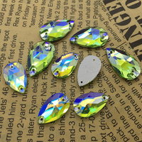 Wholesale Peridot AB Color Teardrop Sew On Rhinestone Flatback 2Holes New Shiny Droplet Sewing Glass Crystal