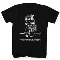 Printed Men T Shirt Clothes Terminator Chrome Black Men S Adult Short Sleeve T Shirt