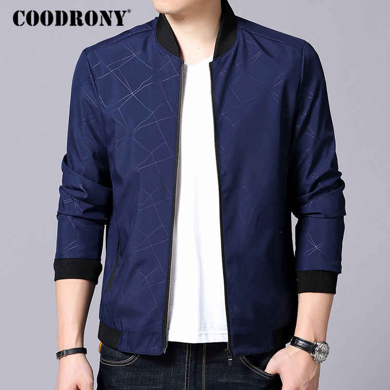 COODRONY Bomber Jacket Men Brand Business Casual Stand Collar Coats 2019 Autumn Winter New Zipper Rib sleeve Outerwear Homme 807