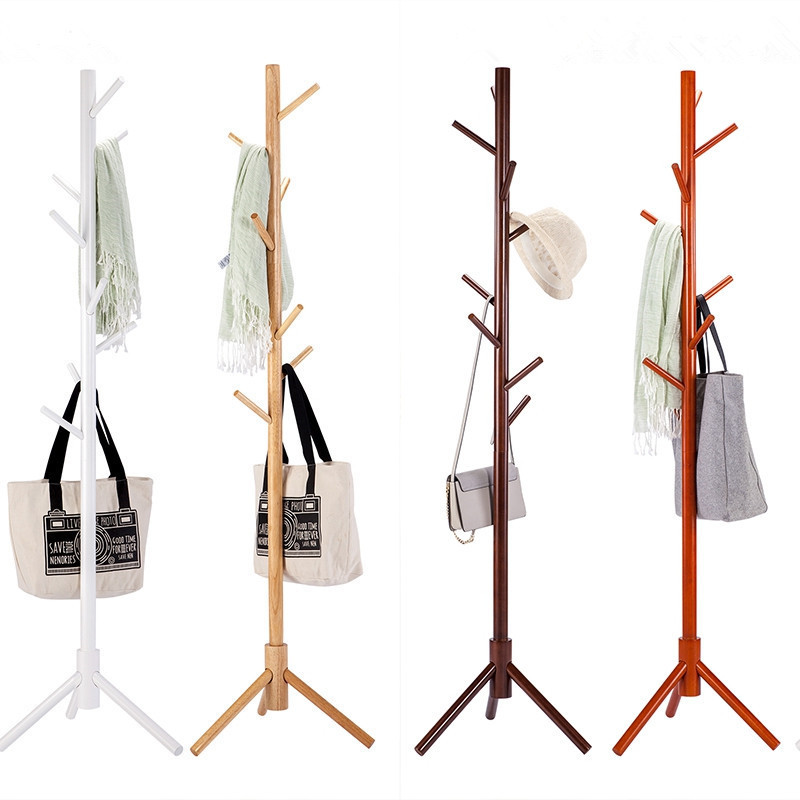 Sturdy Floor Standing Wooden Coat Rack Solid Rubber Wood Hall Tree Coat Tree with Tripod Base 7 Hooks Clothes Rack Coat Stand inness sturdy coat rack solid rubber wood hall tree with tripod base suitable for aduit bule