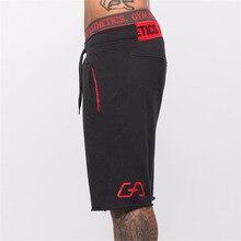 Мужские хлопковые шорты до середины голени для тренажерного зала фитнес бодибилдинг повседневные бегуны для тренировок Брендовые спортивные короткие штаны спортивные штаны Спортивная одежда