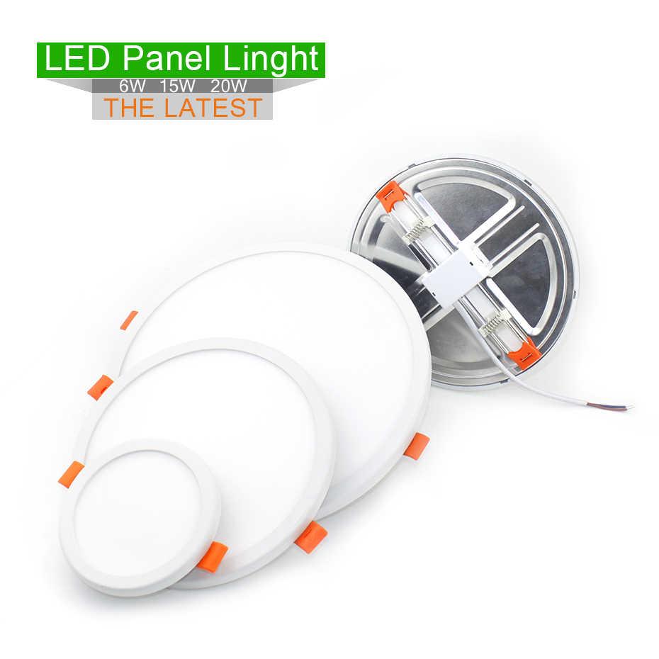 Spot led 220v 6 W/15 W/20 W aluminiowa oprawa wpuszczana wysokie lumeny okrągły regulowany panel led typu downlight montowane na powierzchni