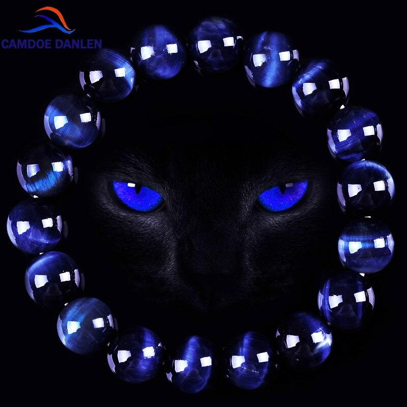 CAMDOE DANLEN mode AAA bleu œil de tigre bouddha Bracelets hommes pierre naturelle ronde perles élasticité corde hommes femmes bracelet à breloques