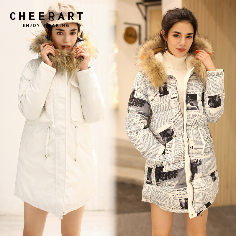 Cheerart Reversible Parka Real Fur Hood Coat Women Winter White Print Raccoon Fur Collar Down Jacket Long Puffer Jacket Femme