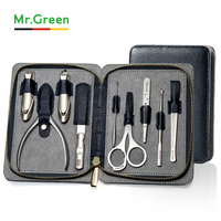 MR.GREEN High quality Stainless Steel grooming kit 9 in 1 nail clipper set Cowhide nail Manicure Tools Nail Care Set