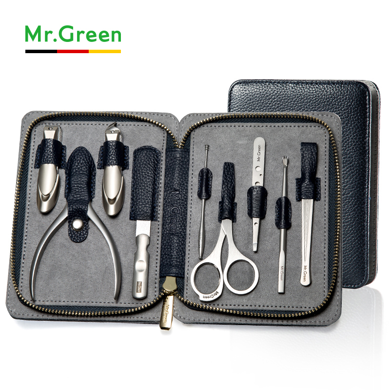 MR.GREEN High quality Stainless Steel grooming kit 9 in 1 nail clipper set Cowhide nail Manicure Tools Nail Care Set 7 in 1 stainless steel portable nail clipper set