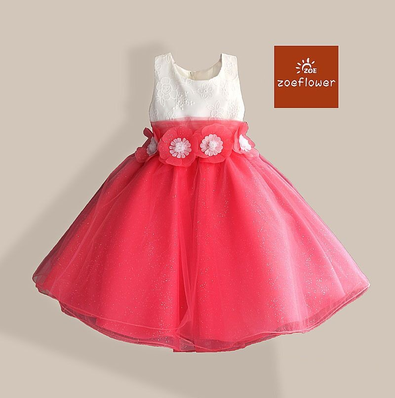 EMS DHL Free Shipping  Kids Elegant Stunning  Flowers Sash Children Girls sleeveless Princess Holiday Dress Luxury Party dress ems dhl free 2017 new lace tulle baby girls kids sleeveless party dress holiday children summer style baby dress valentine