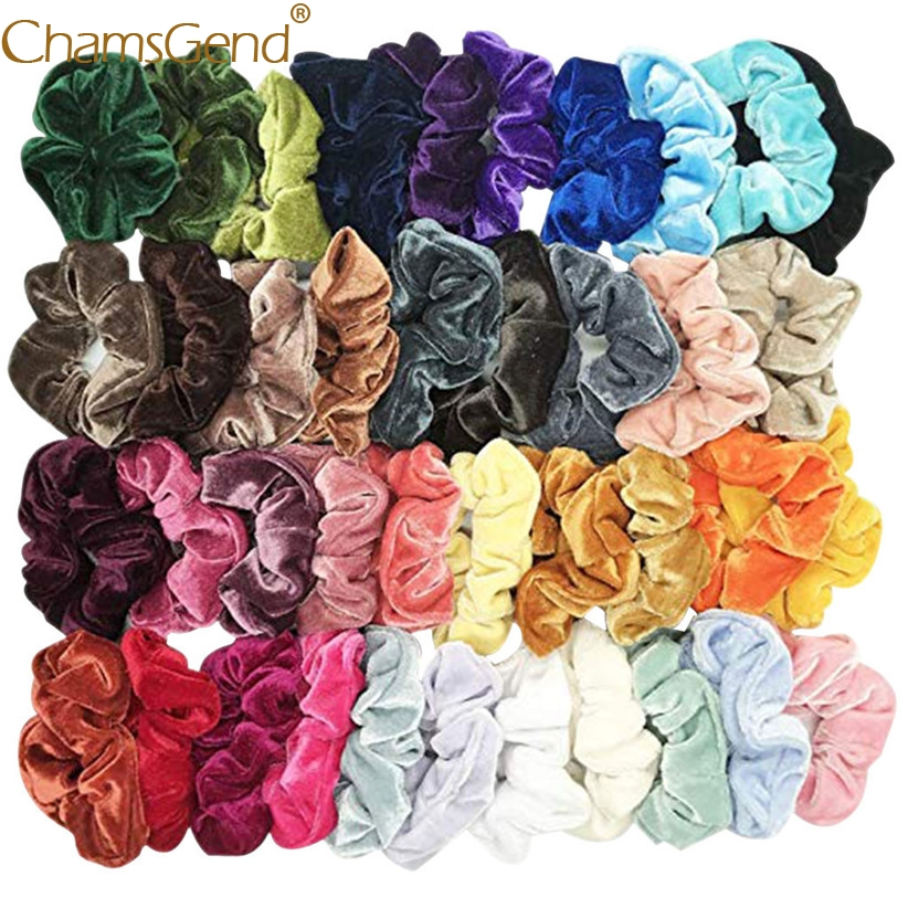 40Pcs/lot Fine Cheap Velvet Elastic Hair Bands Scrunchy Hair Rope For Women Girls Hair Grooming Accessories Whoelsale 90515(China)