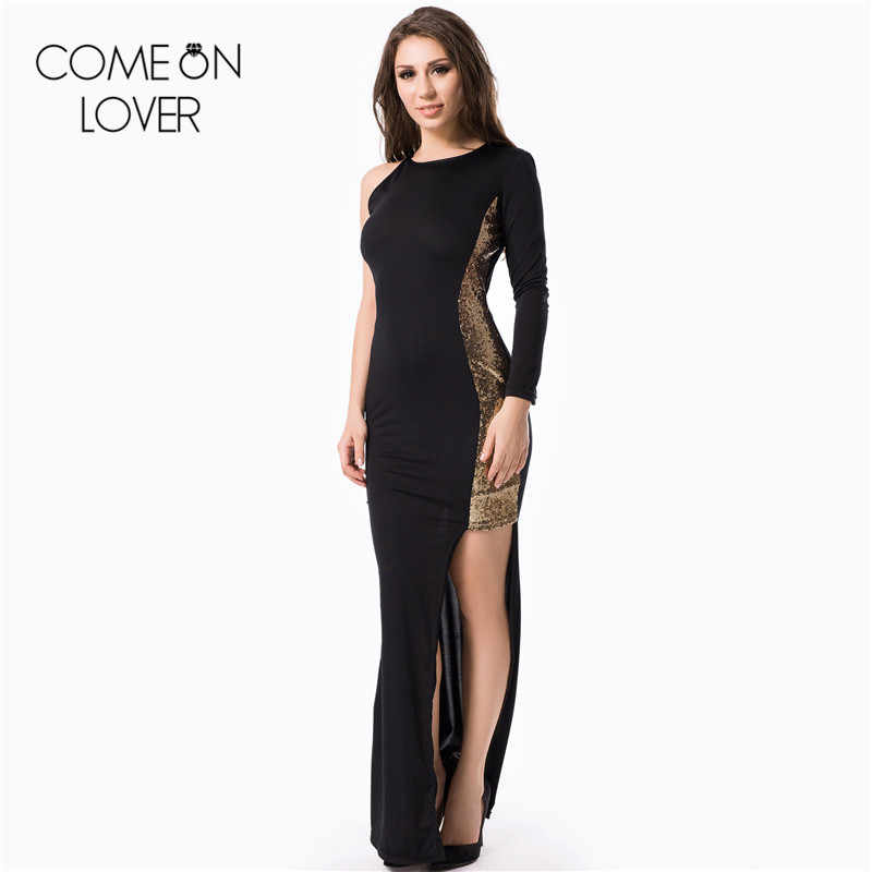 08f5f682e3cec RL70099 Comeonlover New fashion unique one shoulder long sleeve evening  sexy black asymmetrical dress hot sex dresses plus size