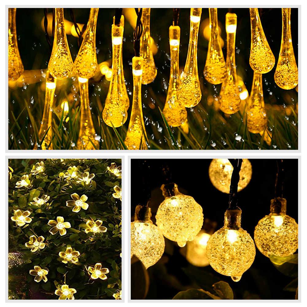 Лампа солнечного света Открытый водонепроницаемый светодиодный с солнечной батареей венок шар Бал Фея свет шнура вечерние праздничные Свадебные Xmas украшение сада