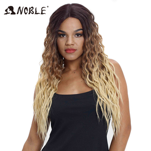 Image 1 - Noble Hair Wigs For Black Women Synthetic Lace Front Wig 28 Inch Long Curly Hair Blonde Ombre Hair Wigs Synthetic Lace Front Wig