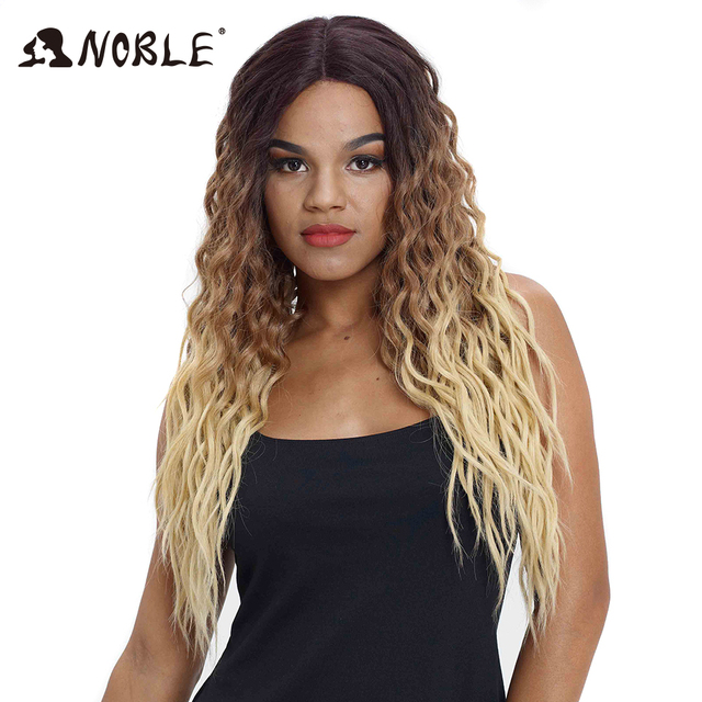 Noble Hair Wigs For Black Women Synthetic Lace Front Wig 28 Inch Long Curly Hair Blonde Ombre Hair Wigs Synthetic Lace Front Wig