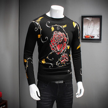 Sweaters Mens 2016 Winter Thicken Pull Homme Fashion Flower Print Pullover Mens O-Neck Slim Fit Casual Men Jumpers Knittings Men