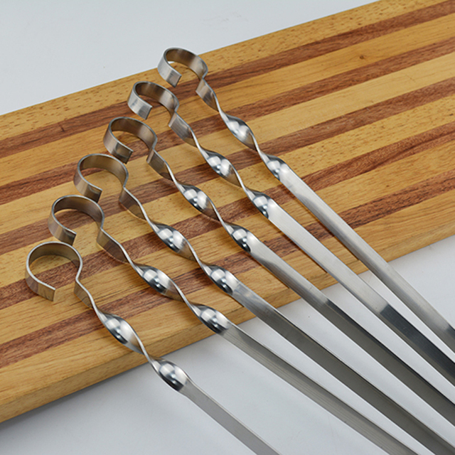 Stainless steel long BBQ skewers flat meat sticks