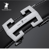 WilliamPolo Genuine Leather H Belt for Men High Quality Male Brand Automatic Ratchet Buckle Designer Strap Male H Belt PL18295P