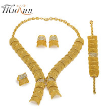 MUKUN 2018 Fashion african beads jewelry set Brand Dubai gold-color Crystal Jewelry sets big nigerian Wedding Bridal jewellery(China)