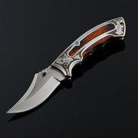 Pocket Hunting Folding Knife Damascus Blade Wood Handle Outdoor Survival Combat Knives