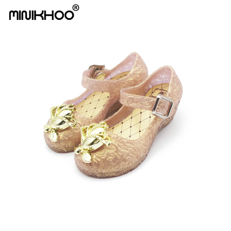 Mini Melissa Flower Girls High-heeled Crystal Shoes Baby Jelly Sandals 2018 Girls Beach Sandals Melissa Jelly Shoes 13cm-16.5cm