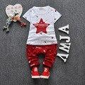Baby Boy Одежда 2016 Бренд Летние Дети Одежды Наборы футболка + брюки Костюм Комплект Одежды Звезда Печатных Одежда новорожденный Спортивные Костюмы