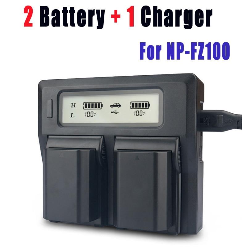 2Pcs NP-FZ100 NPFZ100 NP FZ100 Battery+Smart LED Dual USB Charger for Sony NP-FZ100, BC-QZ1, Sony a9, a7R III, a7 III, ILCE-9