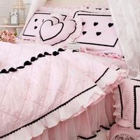 Комплект постельного белья роскошный новый продукт хлопок милый пасторальный драпировка кружева Лето Прохладный сердце узор постельное б