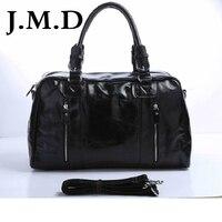 J. м. D 100% классические кожаные Винтаж натуральная Для мужчин Классические Дорожные сумки Чемодан сумки кросс Средства ухода за кожей вещево