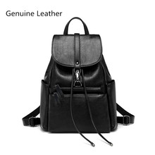 Brand Style High Quality Genuine leather Women Backpack Fashion Solid School Bags For Teenager Girls Casual Women's Black