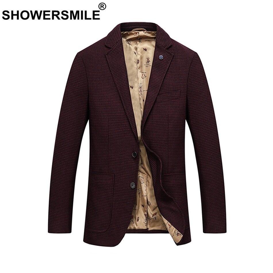 SHOWERSMILE Wool Blazer Men Red Plaid Suit Houndstooth Coat Male Pockets British Slim Office Autumn Winter Jackets 6xl Plus Size