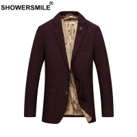 SHOWERSMILE Wool Blazer Men Red Plaid Suit Houndstooth Coat Male Pockets British Slim Office Autumn Winter Jackets 6xl Plus Size