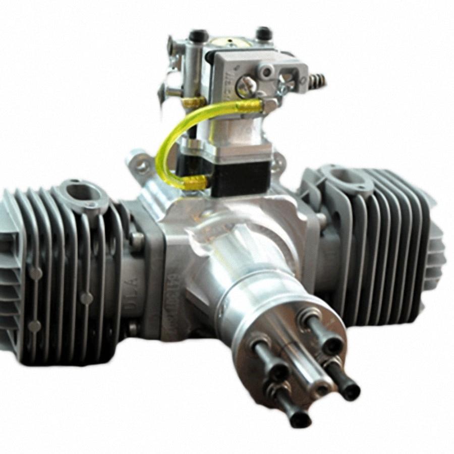 DLA64 64cc Gas Engine For RC Airplane W/Twin Igniton & Muffler Aviation Alumin dla64 inline cnc processed inline gasoline engine petrol engine 64cc for gas airplane with double cylinders