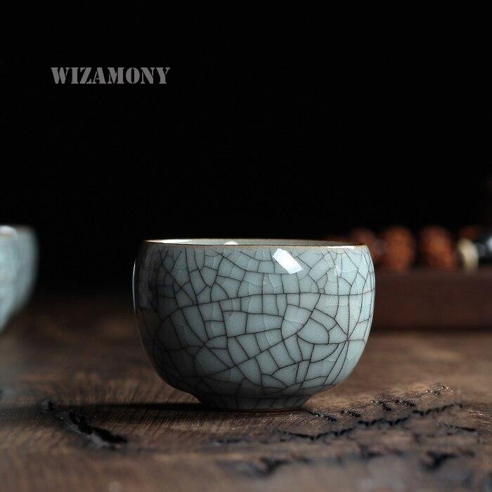1 Uds seis colores chino Longquan Celadon Gaiwan de porcelana ChinaTeacups tazón de porcelana 100ml olla de té de China craquelado de celadón taza de té