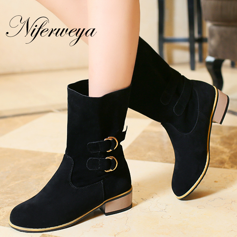 2016 Fashion women winter low heel shoes Big size 34-48 Buckle decoration Round Toe Slip-On Mid-Calf cowgirl boots AYY-716 new arrival superstar genuine leather chelsea boots women round toe solid thick heel runway model nude zipper mid calf boots l63
