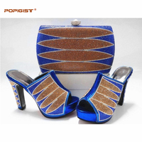 Royal blue shoes matching clutches evening bag with stones high quality Italy shoes and bag set for party