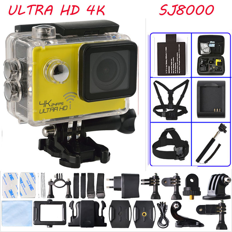 Ultra HD Sport Camera 4K 24fps WiFi NTK96660 1080P 60fps 30M Diving waterproof gopro hero 4