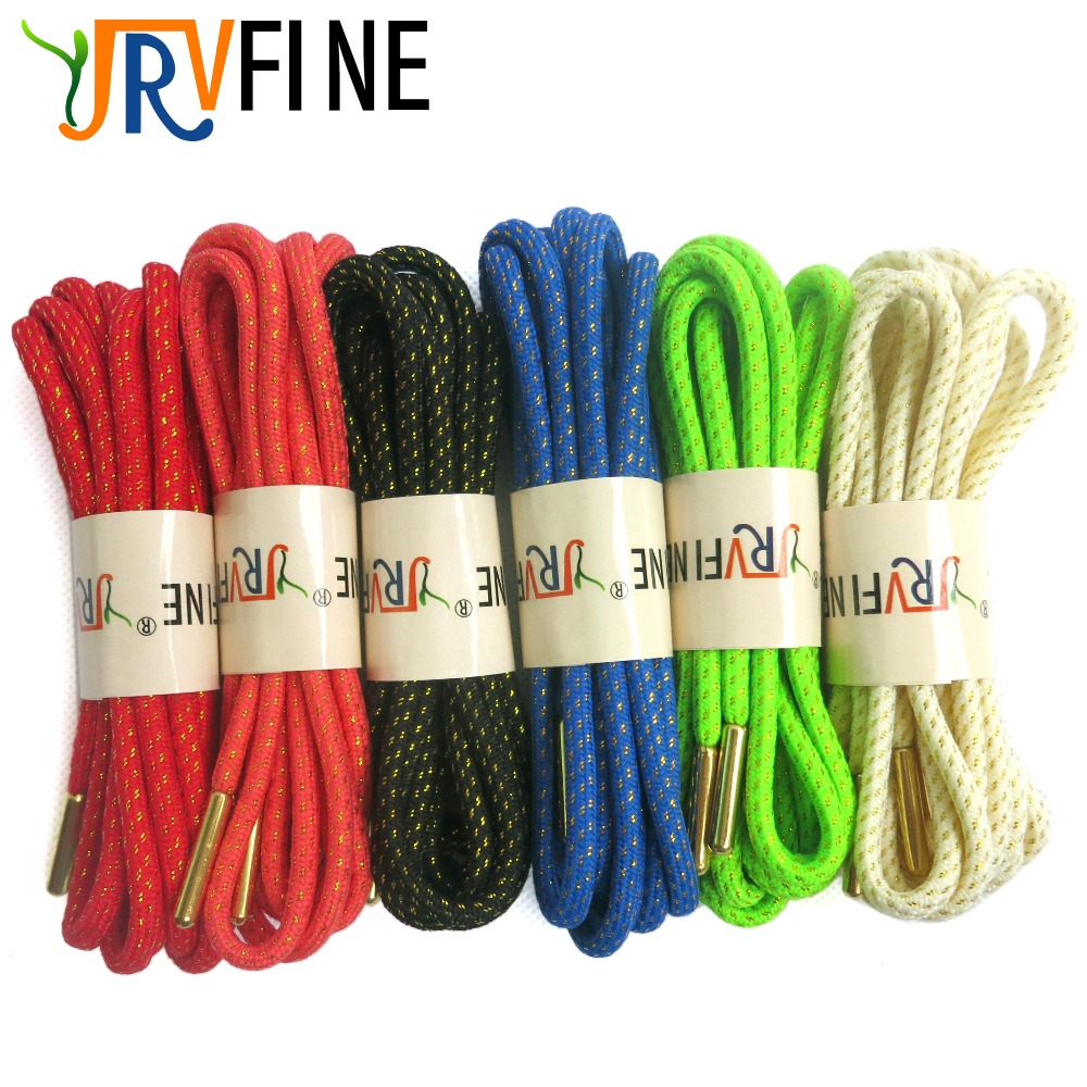 YJRVFINE 2Pair Metallic Gold Silk Round Rope Laces for Boots Shoelaces Sneakers Shoe Laces Shoestrings With Metal Tips Shoelace