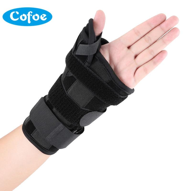 Cofoe Adjustable Wrist Brace Support with Thumb Splint Stabiliser Steel Strap Black Wristband Bandage for Arthritis Pain