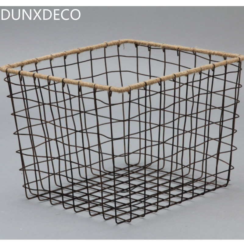 DUNXDECO Home Office Lagerung Vintage Drahtkorb Rustikalen ...