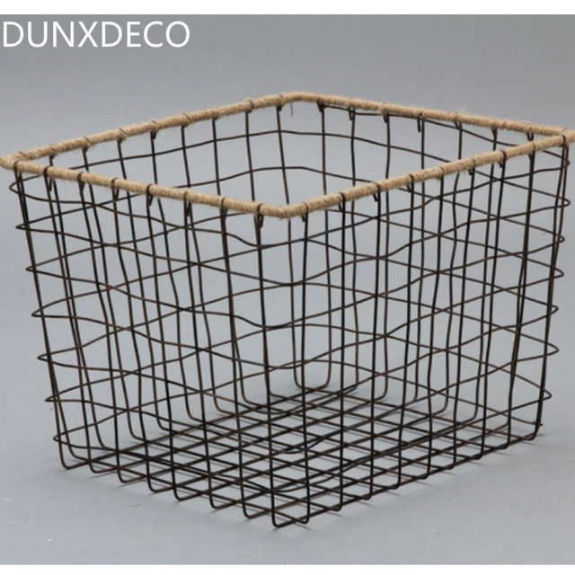 DUNXDECO Home Office Storage Vintage Wire Basket Rustic Iron Wire Net  Magazine Container Decoration