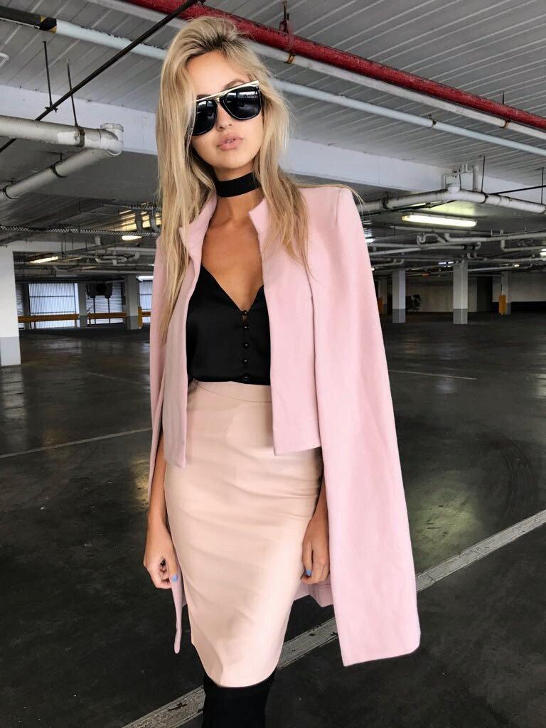 Long Gray De Printemps Blazer Personnalisé Cape Poncho Ouverte pink Deux Avant Femmes Manteau Enbeautter Tranchée Manteaux Pièce Faux Costumes w7TSxq1f