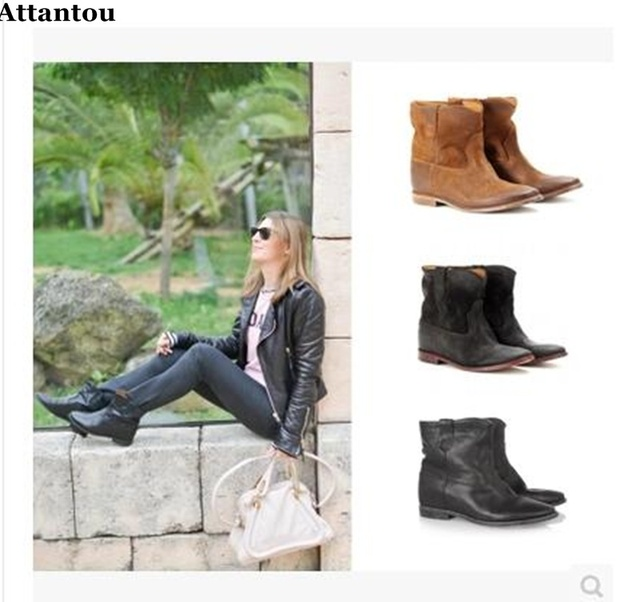 Attantou Suede Autumn Ankle Boots Women Nubuck Leather Retro Distressed  Biker Height Increased Boot Motorcycle Boots Girls Shoes 395fabb57d13