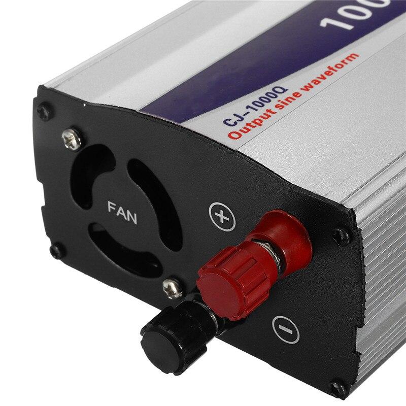 Noir 1 Set LED affichage 1000 W onde sinusoïdale Pure onduleur 12 V/24 V/48 V à 220 V convertisseur transformateur alimentation - 2