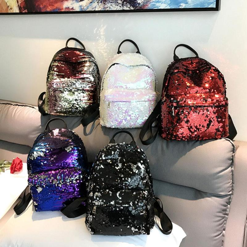 Sequins Glitter Bling Backpacks Teenager Girls PU Leather Backpack Girls Shoulder School Bag Travel Rucksack 1