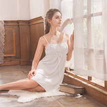 Roseheart Women Fashion White Sexy Sleepwear Spaghetti Strap Nightdress Lace Nightwear Sleepshirts Nightgown S M L XL